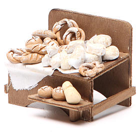 Banco con pane e formaggi 7x9x8 cm presepe napoletano s2