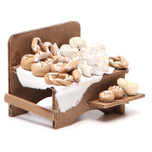 Banco con pane e formaggi 7x9x8 cm presepe napoletano 3