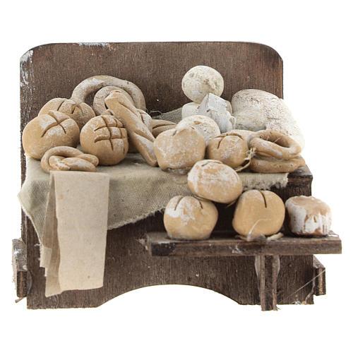 Banco con pane e formaggi 7x9x8 cm presepe napoletano 1