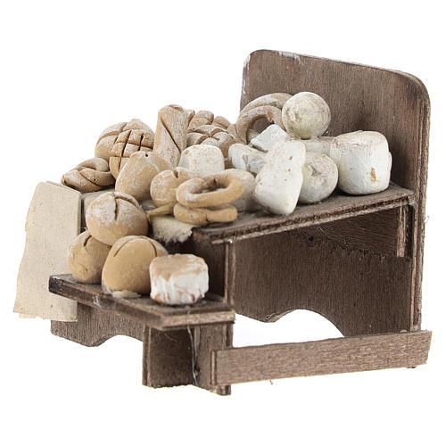 Banco con pane e formaggi 7x9x8 cm presepe napoletano 2