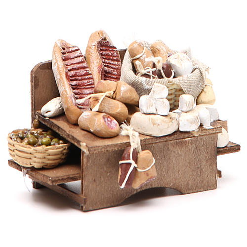 Work bench olives cheeses and cured meats 9x12x6cm neapolitan Nativity 3