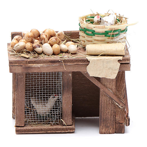 Table cage with chicken and eggs 9x8x5,5cm neapolitan Nativity 1
