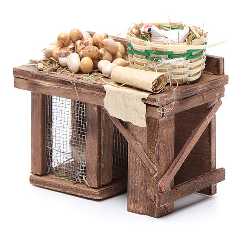 Table cage with chicken and eggs 9x8x5,5cm neapolitan Nativity 2