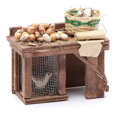 Table cage with chicken and eggs 9x8x5,5cm neapolitan Nativity 3
