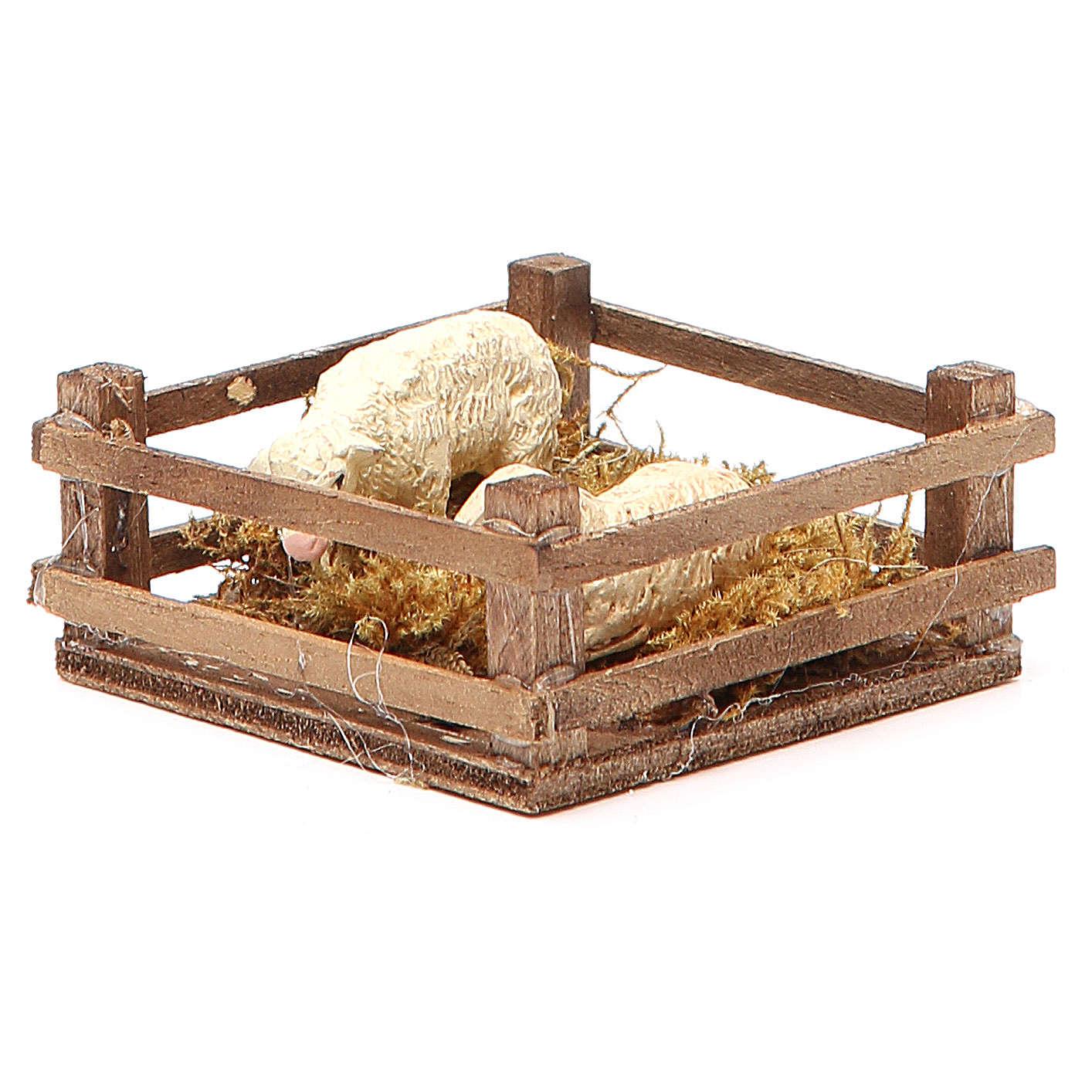 Recinto con ovejas 3x6.5x6.5 cm belén Nápoles 4