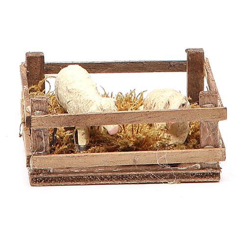 Recinto con ovejas 3x6.5x6.5 cm belén Nápoles 1