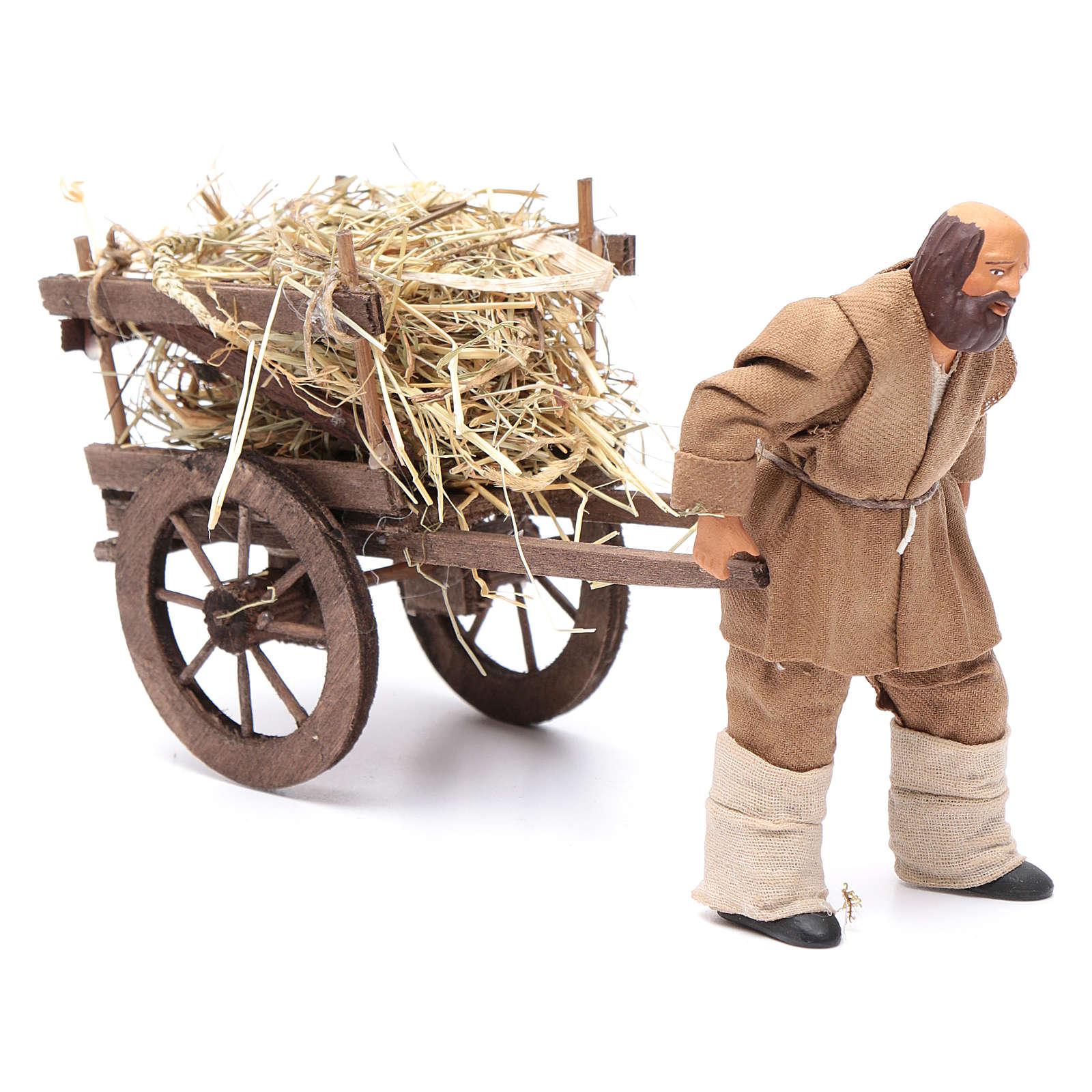 Uomo che porta carretto di fieno 12 cm presepe napoli 4