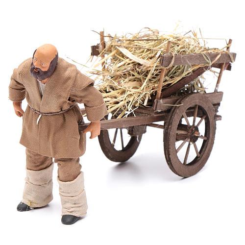 Uomo che porta carretto di fieno 12 cm presepe napoli 1