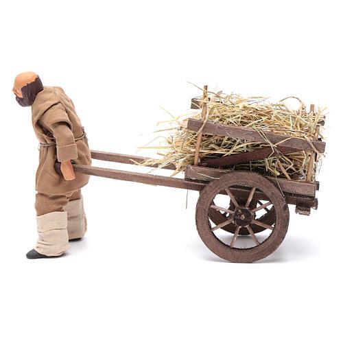 Uomo che porta carretto di fieno 12 cm presepe napoli 2