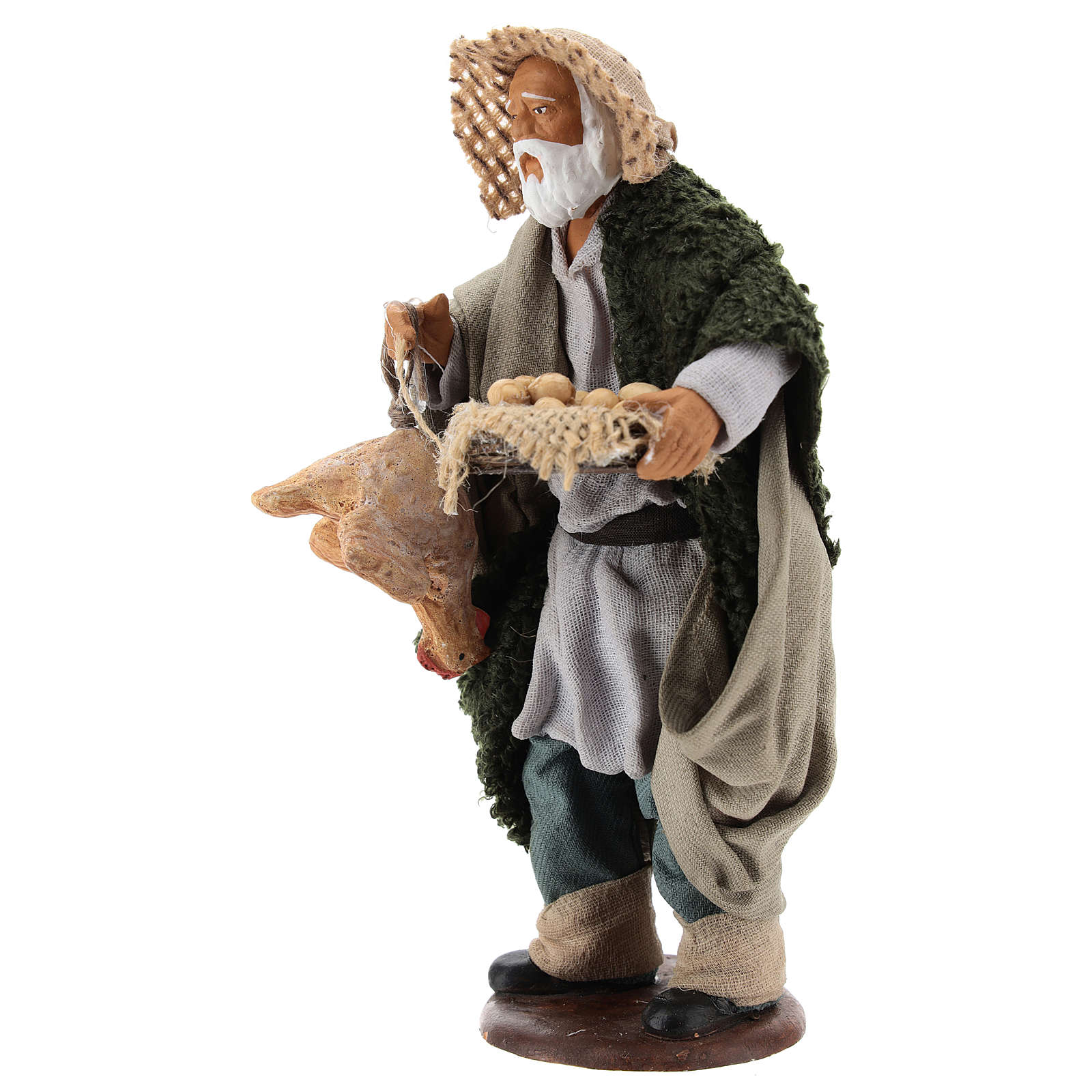 Man with hen and egg basket 14cm neapolitan Nativity 4