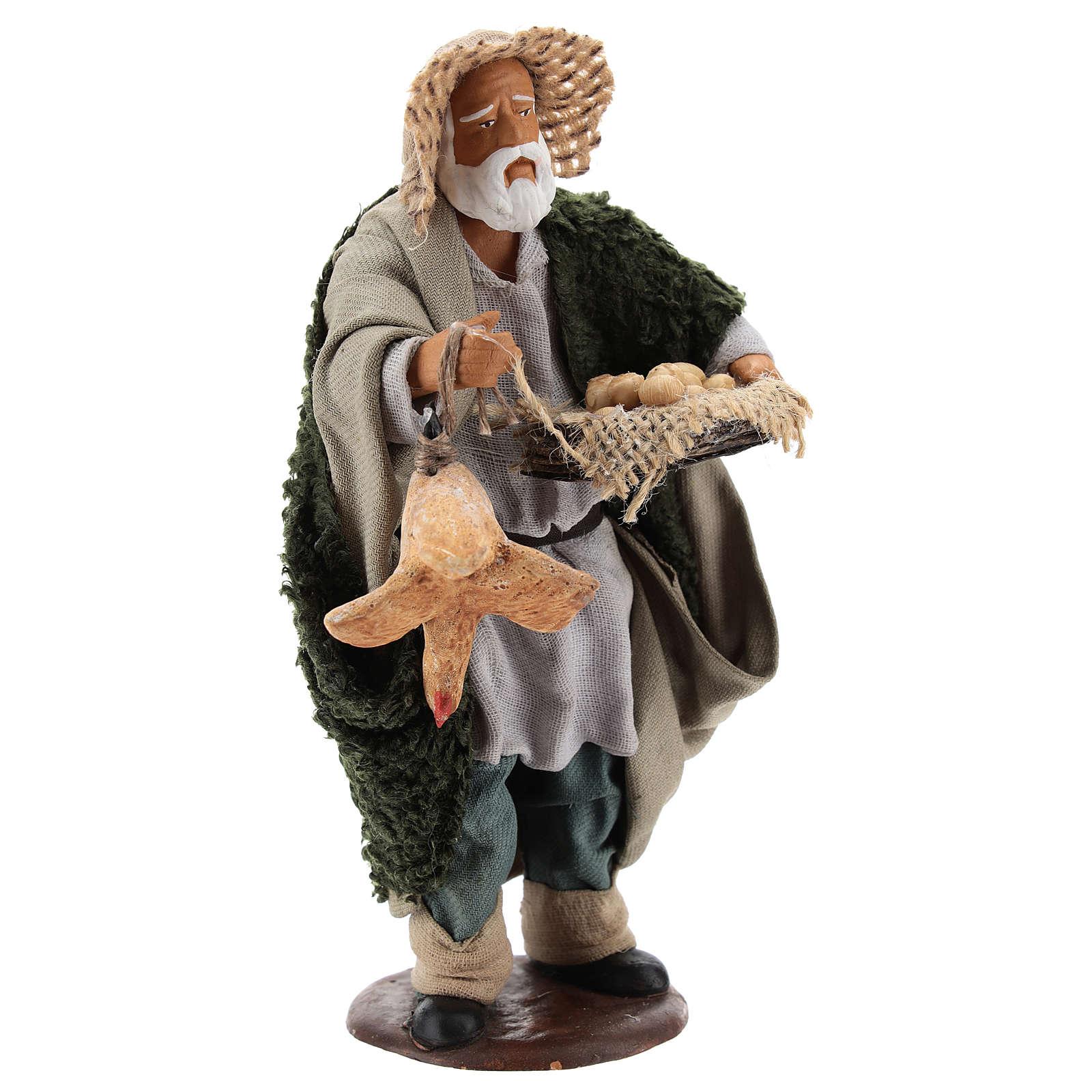 Hombre con gallina y cesta huevos 14 cm belén napolitano 4