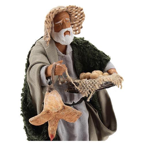 Hombre con gallina y cesta huevos 14 cm belén napolitano 2