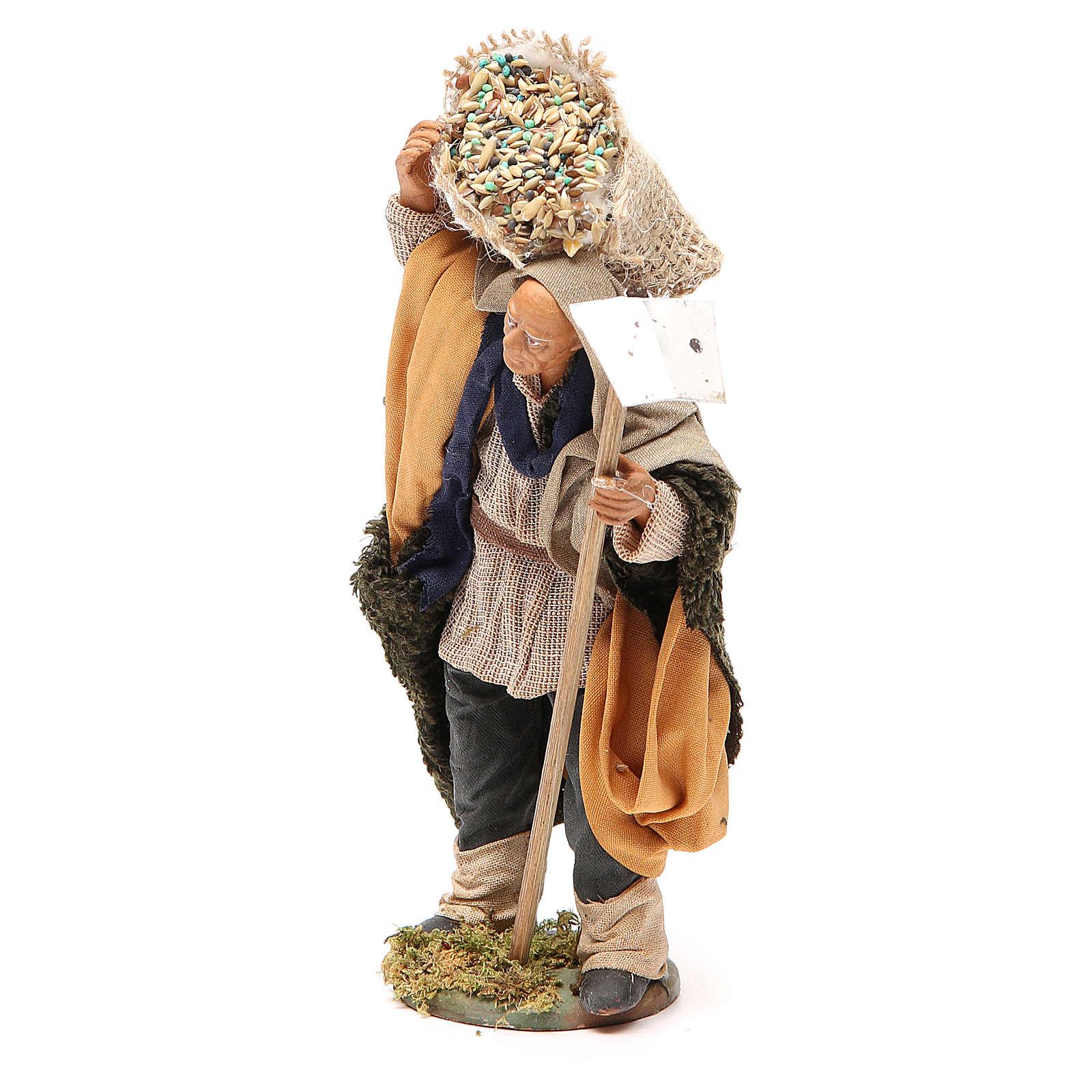 Uomo con zappa e sacco 14 cm presepe napoletano 4