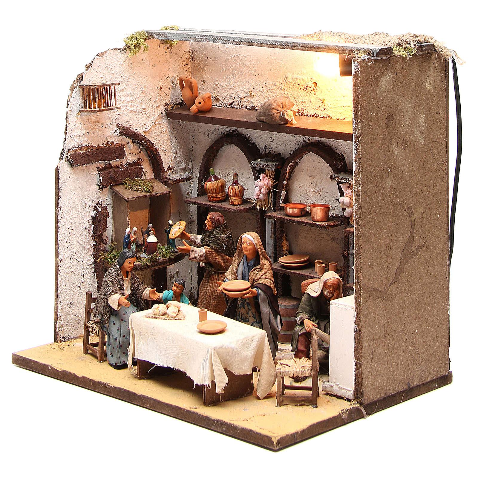 Casa illuminata con 5 personaggi 12 cm presepe Napoli 4