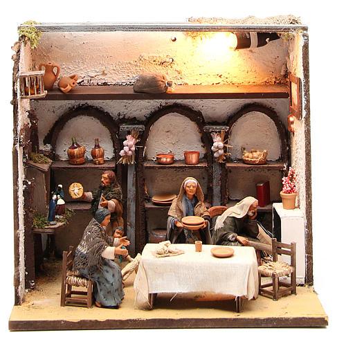 Casa illuminata con 5 personaggi 12 cm presepe Napoli 1