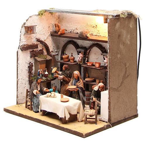 Casa illuminata con 5 personaggi 12 cm presepe Napoli 2