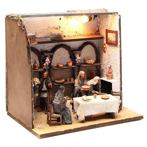 Casa illuminata con 5 personaggi 12 cm presepe Napoli 3