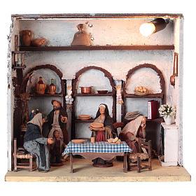 Presépio Napolitano: Casa iluminada com 5 peças para presépio napolitano com peças de 12 cm altura  média