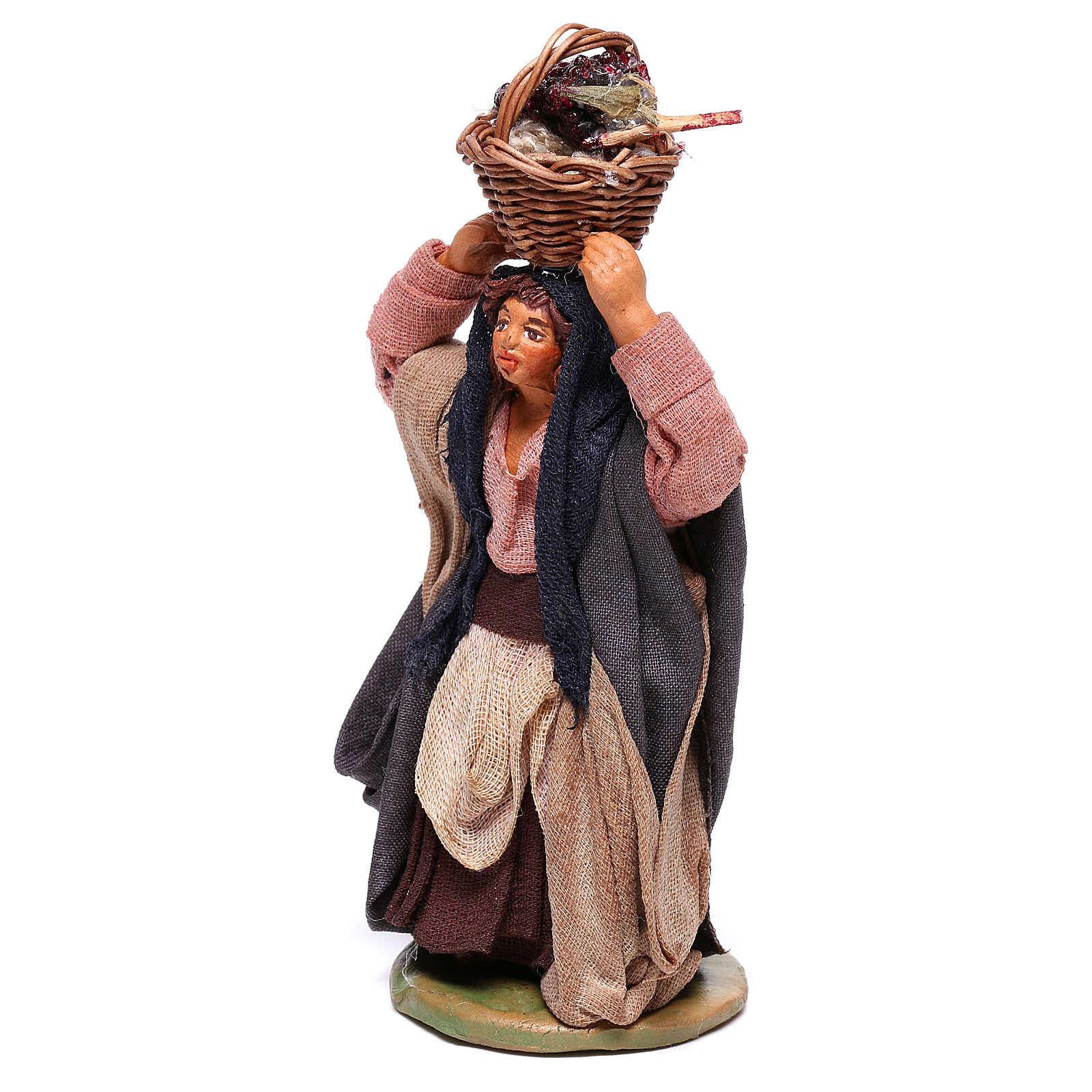 Mujer con cesta en la cabeza con huevos 10 cm belén Nápoles 4