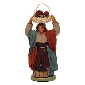 Mujer con cesta en la cabeza con huevos 10 cm belén Nápoles s1