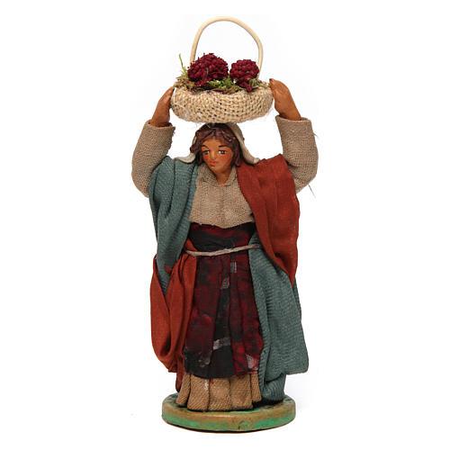 Mujer con cesta en la cabeza con huevos 10 cm belén Nápoles 1
