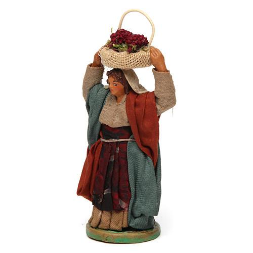 Mujer con cesta en la cabeza con huevos 10 cm belén Nápoles 2