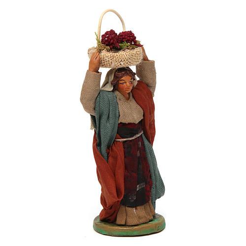 Mujer con cesta en la cabeza con huevos 10 cm belén Nápoles 3