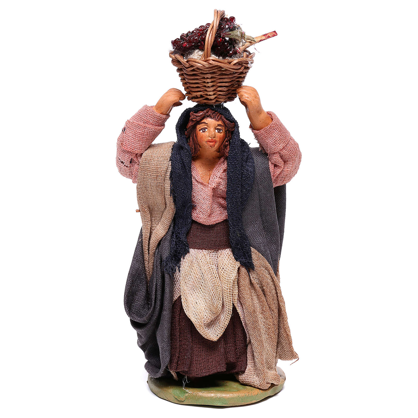 Woman with grapes basket on head 10cm neapolitan Nativity 4