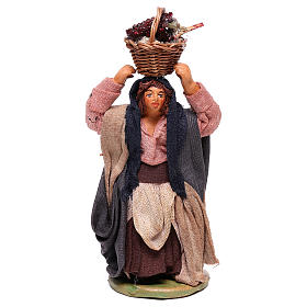 Woman with grapes basket on head 10cm neapolitan Nativity s1