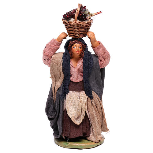Woman with grapes basket on head 10cm neapolitan Nativity 1