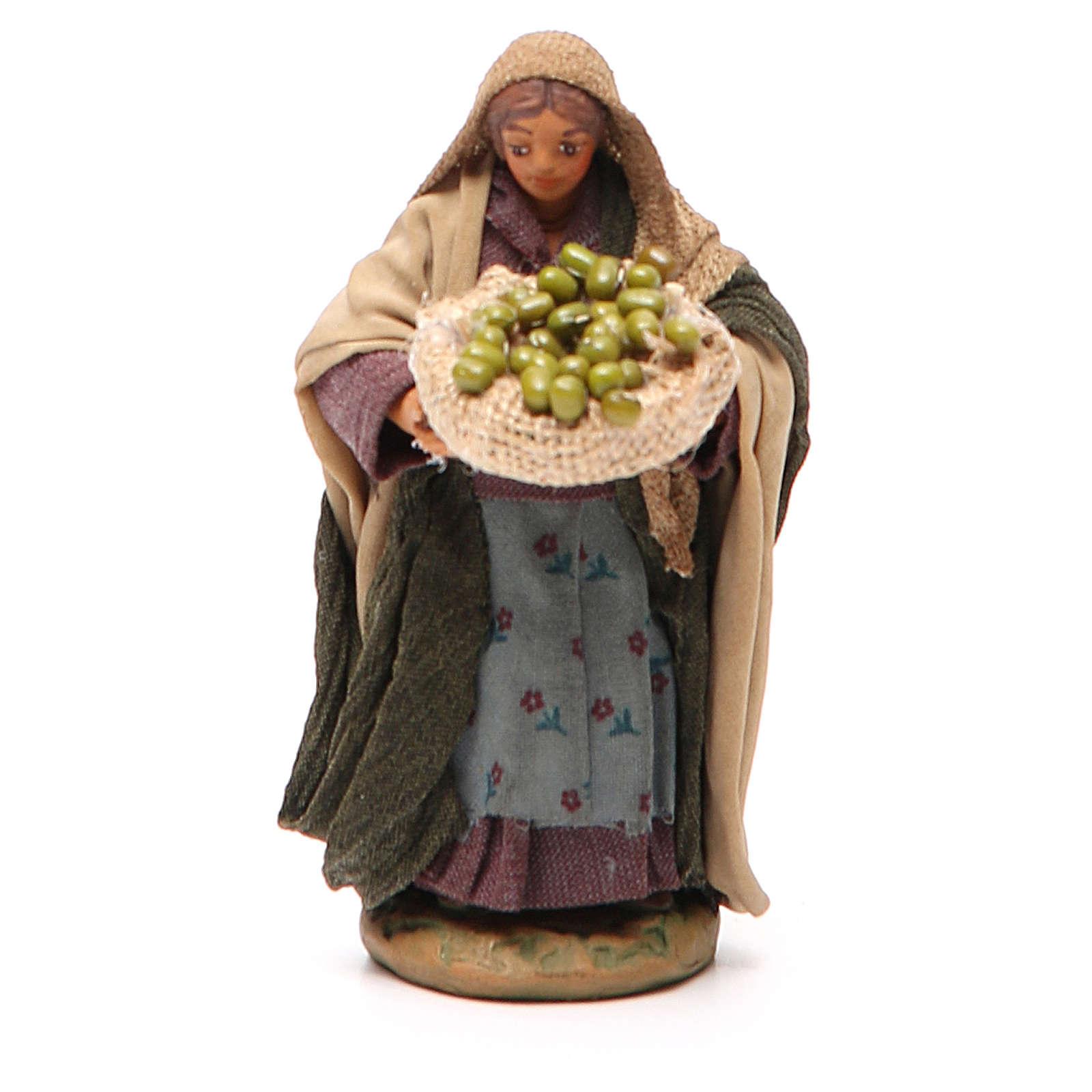 Donna cesto olive in mano 10 cm presepe Napoli 4