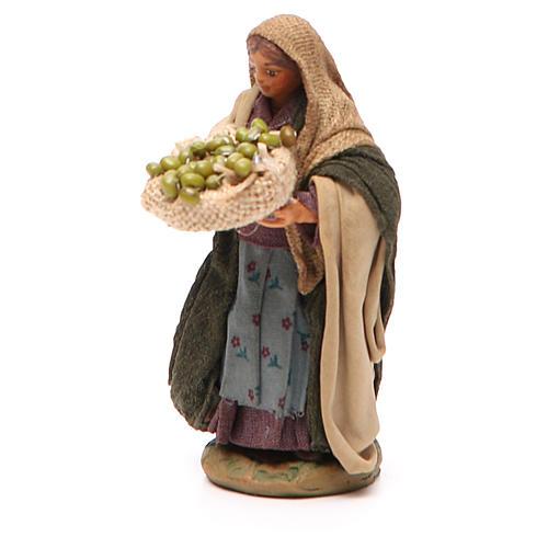 Donna cesto olive in mano 10 cm presepe Napoli 2