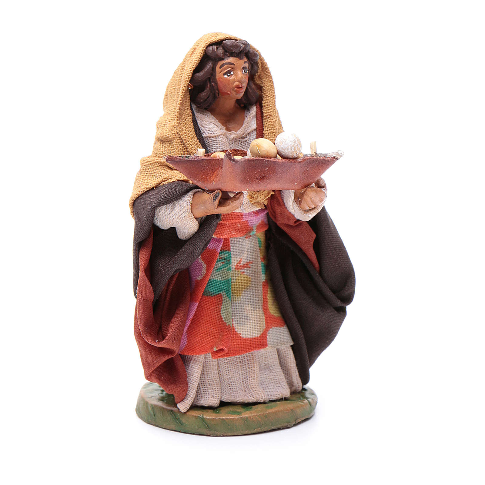 Woman with leather basket in hands 10cm neapolitan Nativity 4