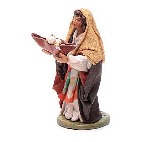 Femme panier cuir en main 10 cm crèche napolitaine s2