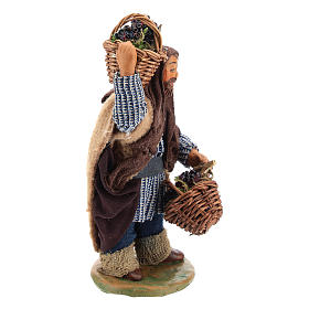 Man with grapes basket in leather 10cm neapolitan Nativity s4