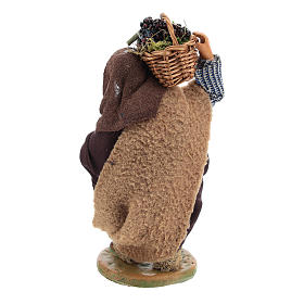Man with grapes basket in leather 10cm neapolitan Nativity s5