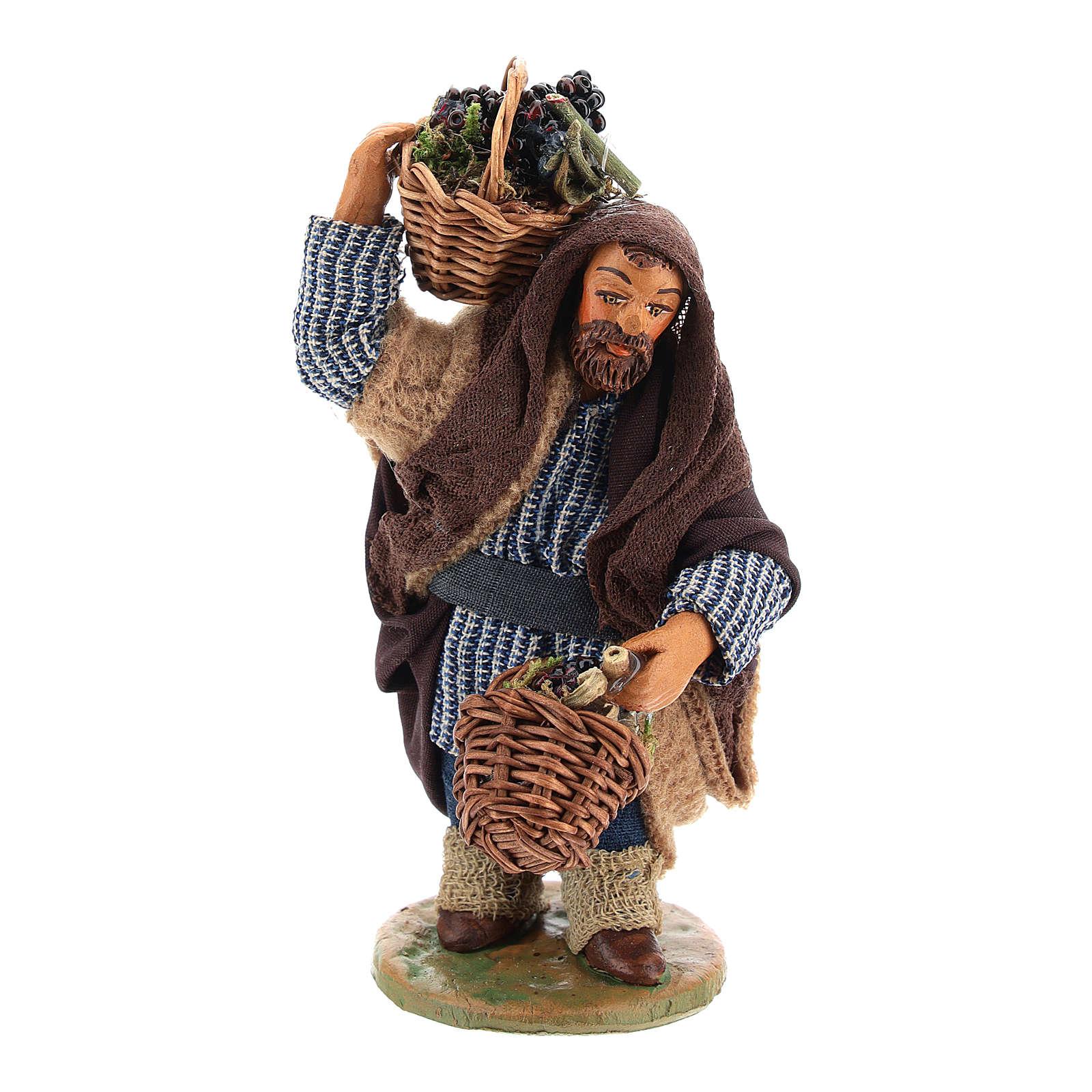 Homme panier oeufs en cuir 10 cm crèche napolitaine 4