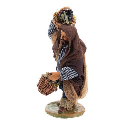 Homme panier oeufs en cuir 10 cm crèche napolitaine 3
