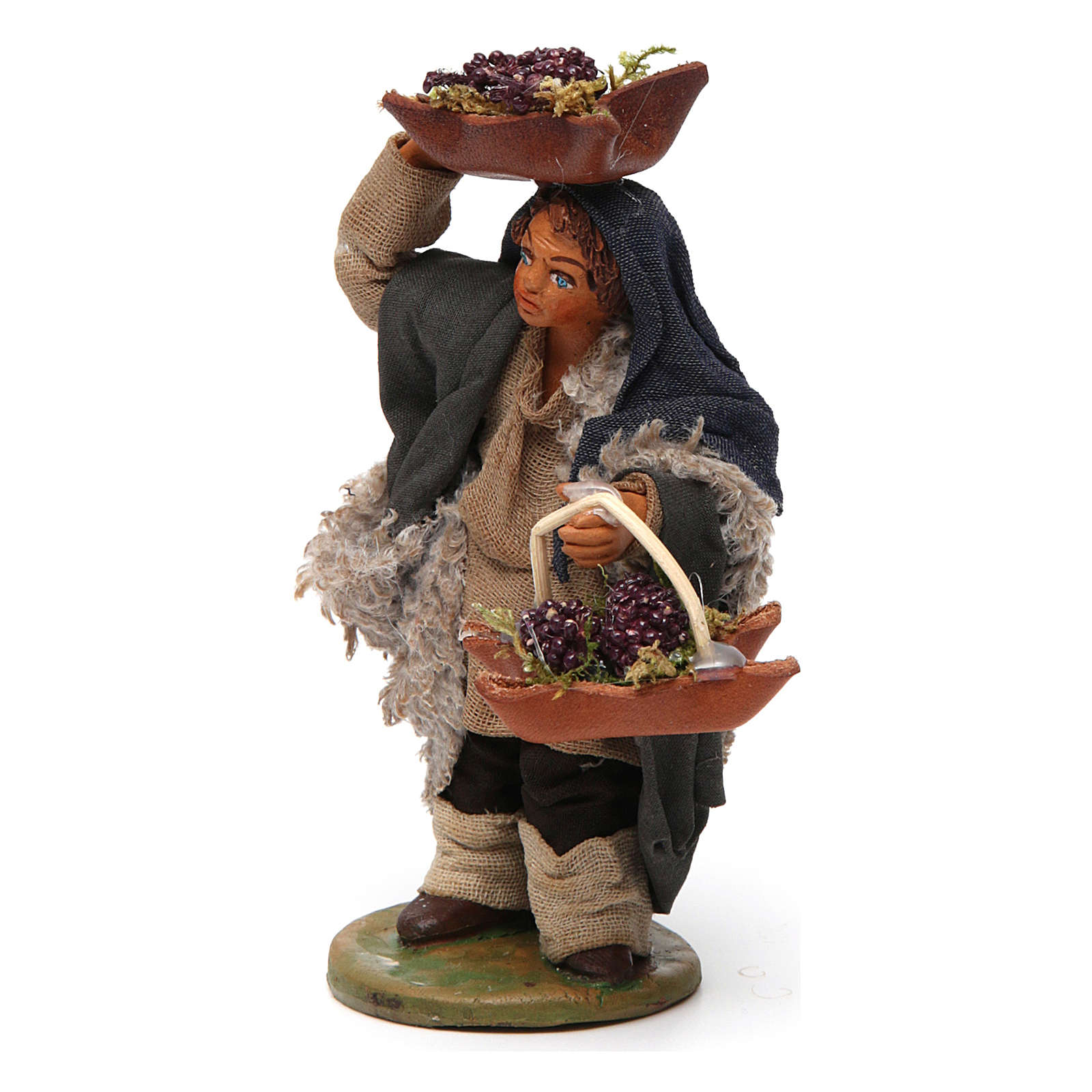 Man with grapes basket in leather 10cm neapolitan Nativity 4