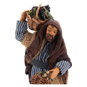 Man with grapes basket in leather 10cm neapolitan Nativity s2