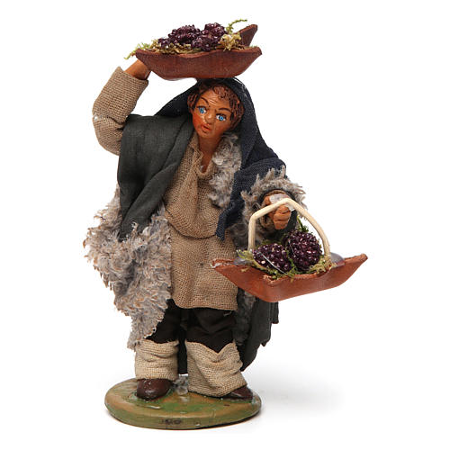 Man with grapes basket in leather 10cm neapolitan Nativity 1