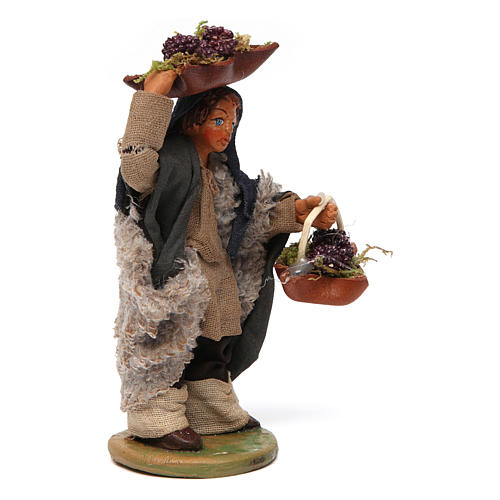 Man with grapes basket in leather 10cm neapolitan Nativity 3