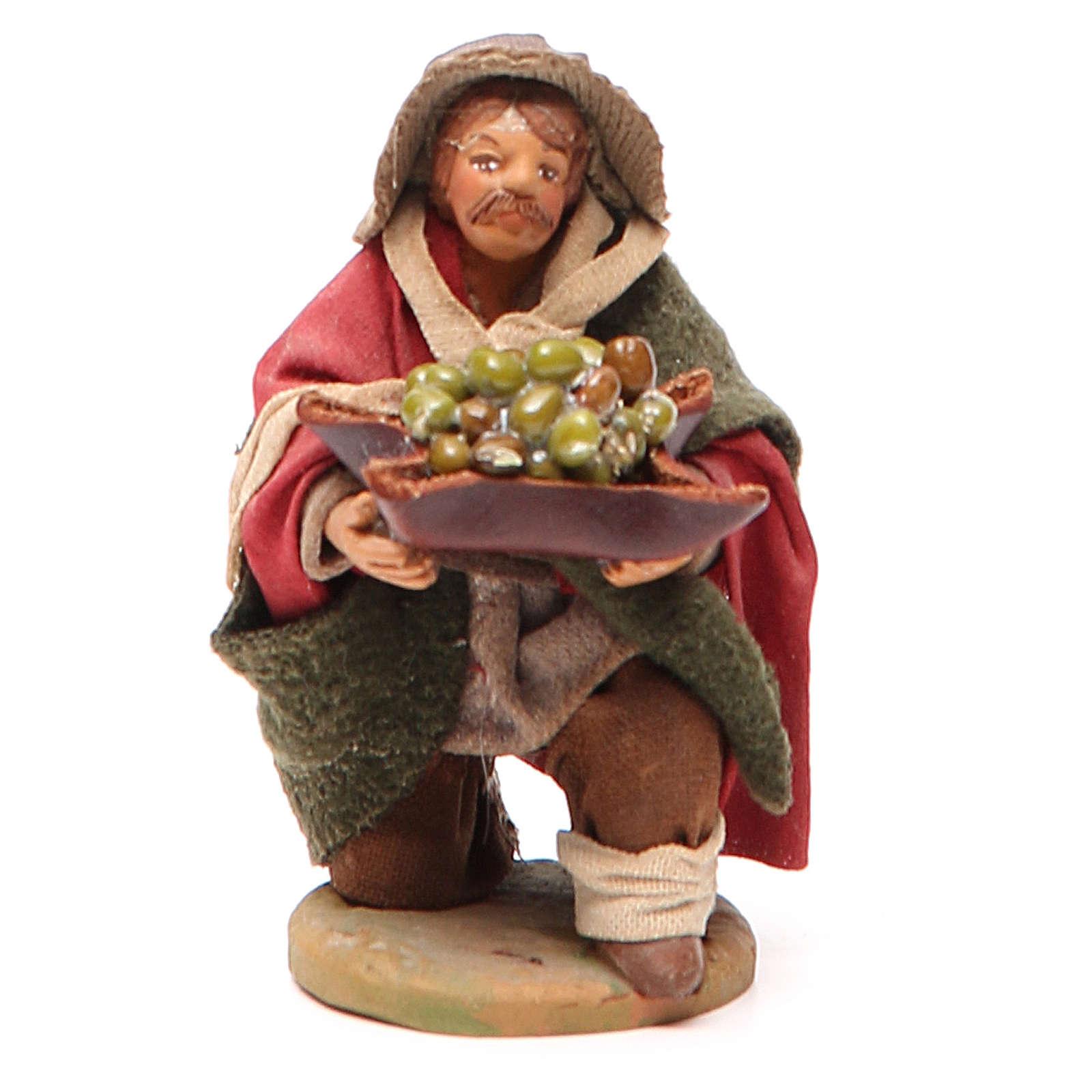 Homme à genoux avec olives panier en cuir 10 cm crèche Naples 4