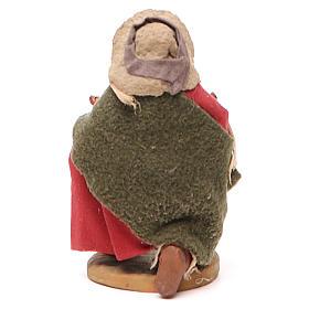 Homme à genoux avec olives panier en cuir 10 cm crèche Naples s4