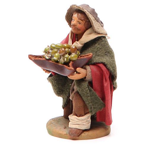 Homme à genoux avec olives panier en cuir 10 cm crèche Naples 2