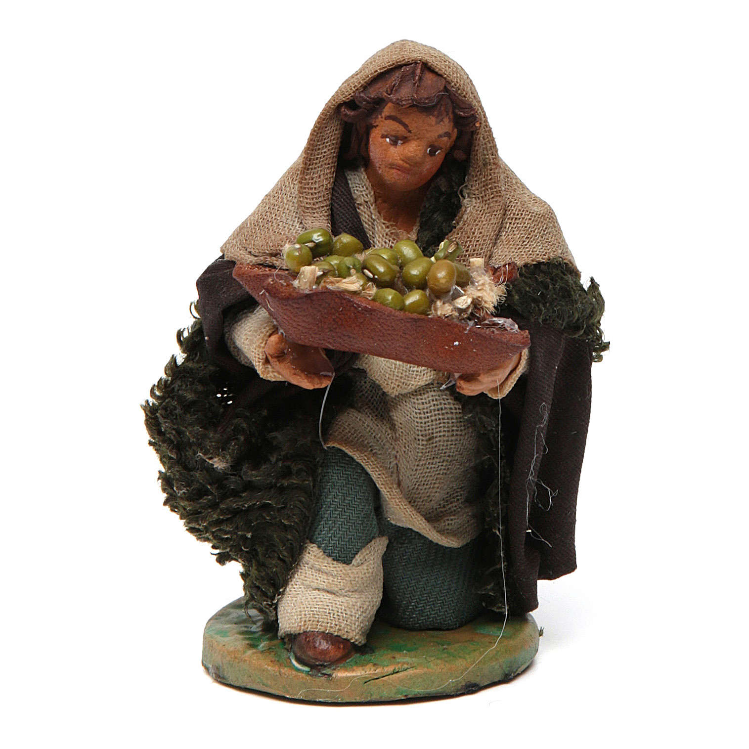 Uomo in ginocchio con olive cesto cuoio 10 cm presepe Napoli 4