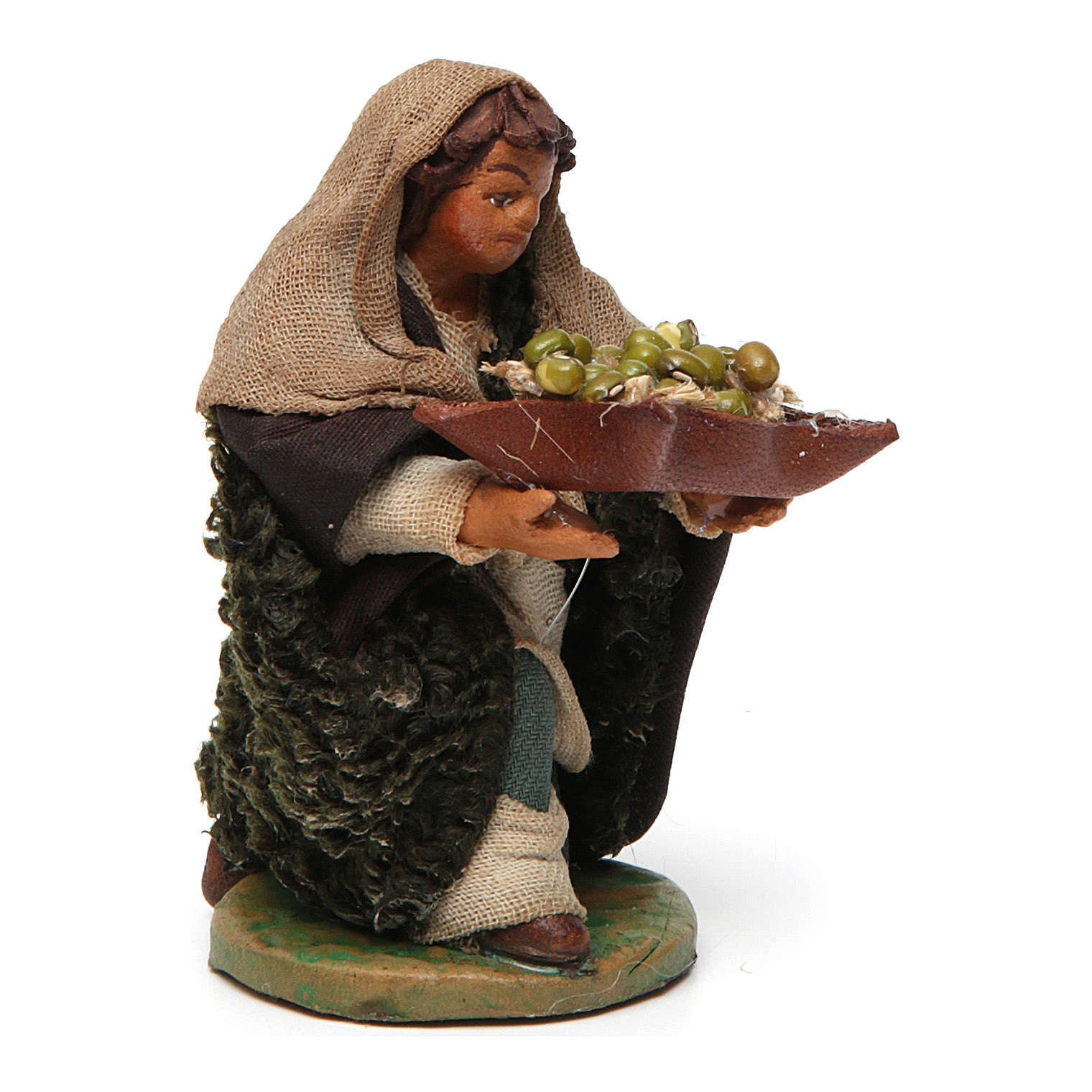 Kneeling Man with basket of olives 10cm neapolitan Nativity 4