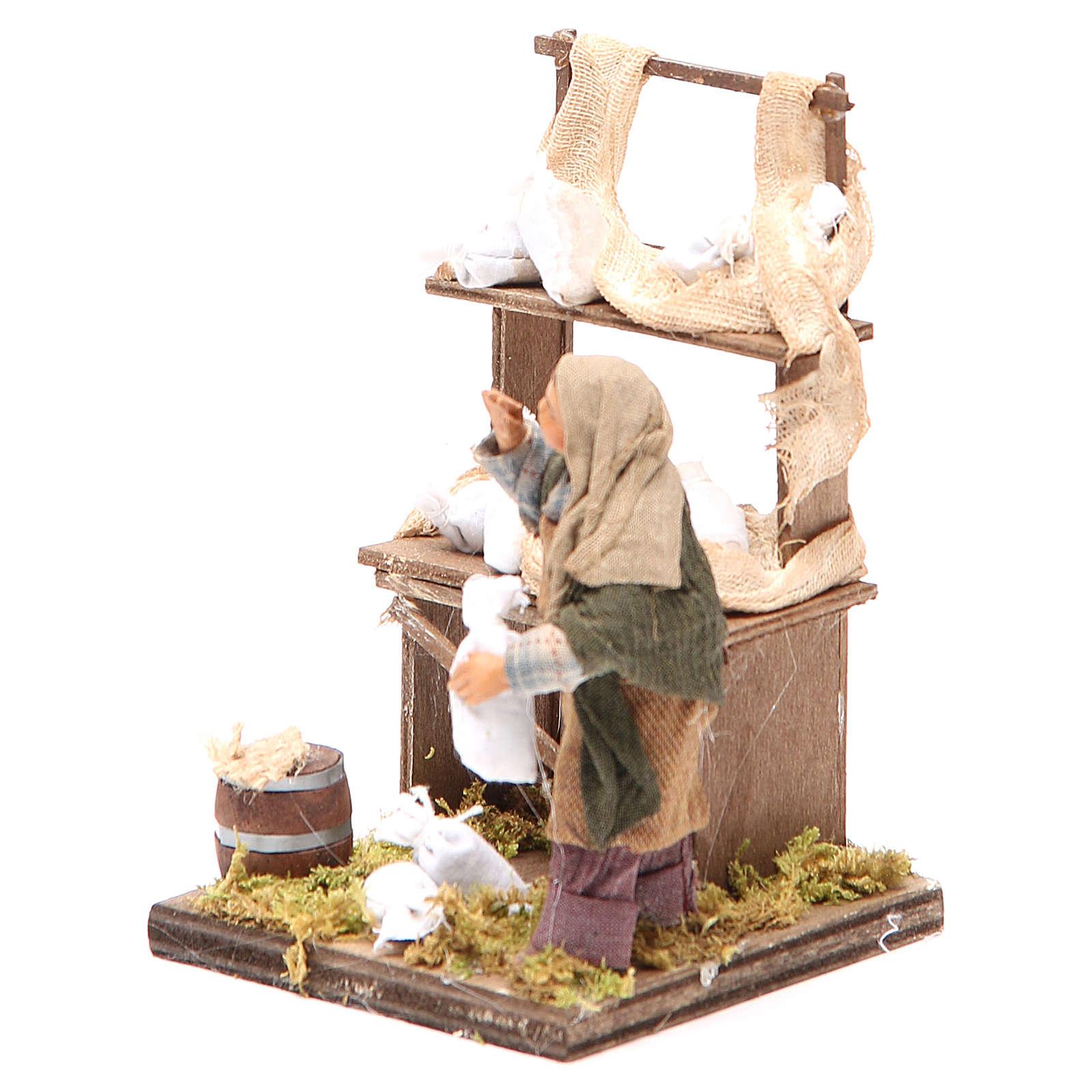 Venditore sacchi di farina con banco 10 cm presepe Napoli 4