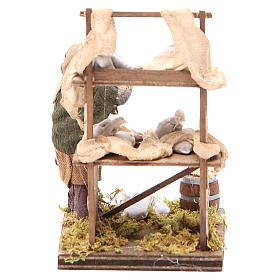 Venditore sacchi di farina con banco 10 cm presepe Napoli s4