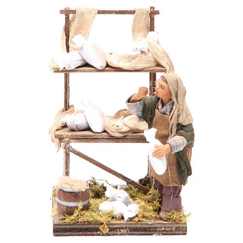 Venditore sacchi di farina con banco 10 cm presepe Napoli 1